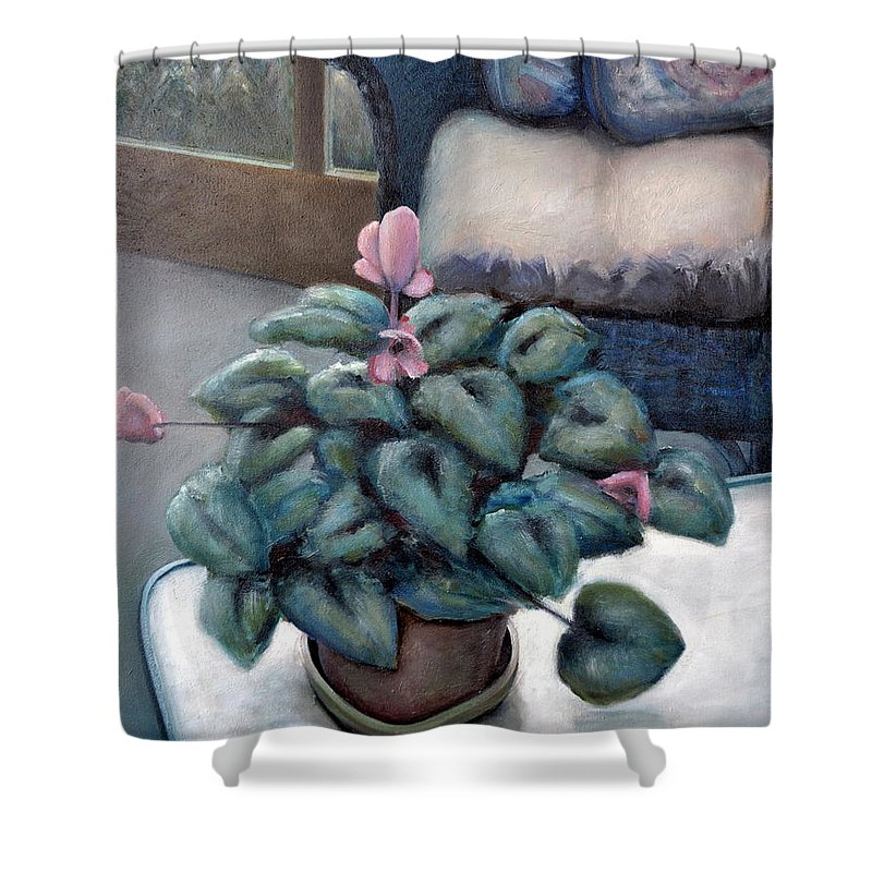 Cyclamen Shower Curtain featuring the painting Cyclamen And Wicker by Michelle Calkins
