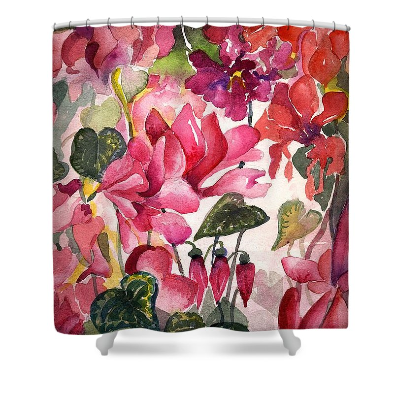 Cyclamen Shower Curtain featuring the painting Cyclamen by Mindy Newman