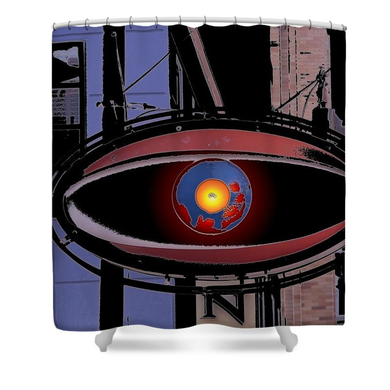 Seattle Shower Curtain featuring the digital art Cyclops by Tim Allen