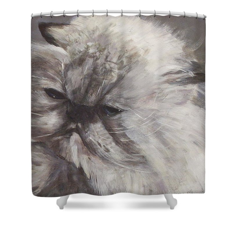 Himalayan Cat Shower Curtain featuring the painting Cynthia by Elizabeth Ellis