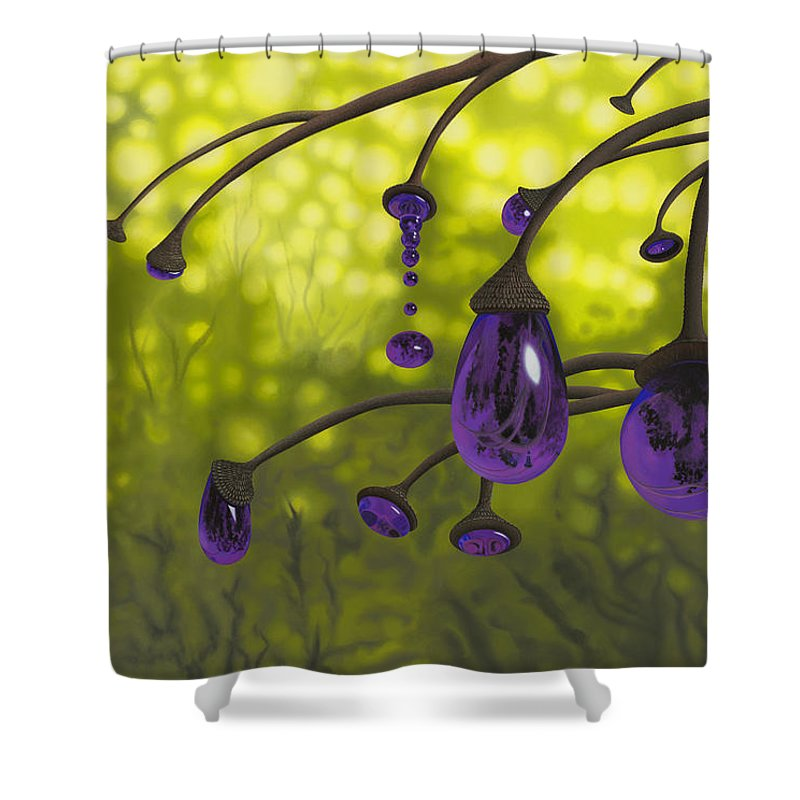 Tree Shower Curtain featuring the painting Cyphomandra Vitra by Patricia Van Lubeck