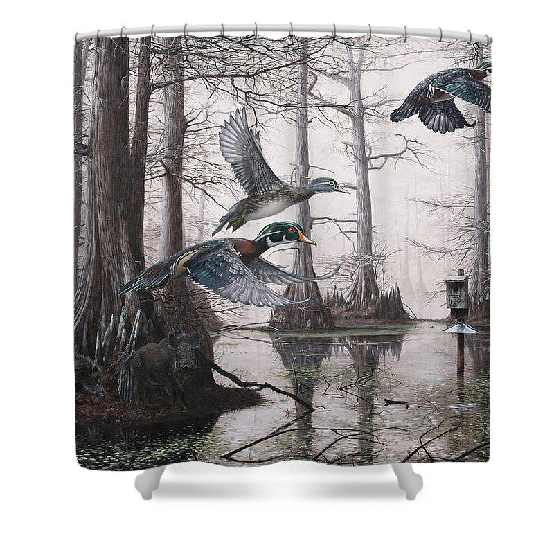Duck Hunting Shower Curtain Featuring The Painting Cypress Bayou Neighbors By Glenn Pollard