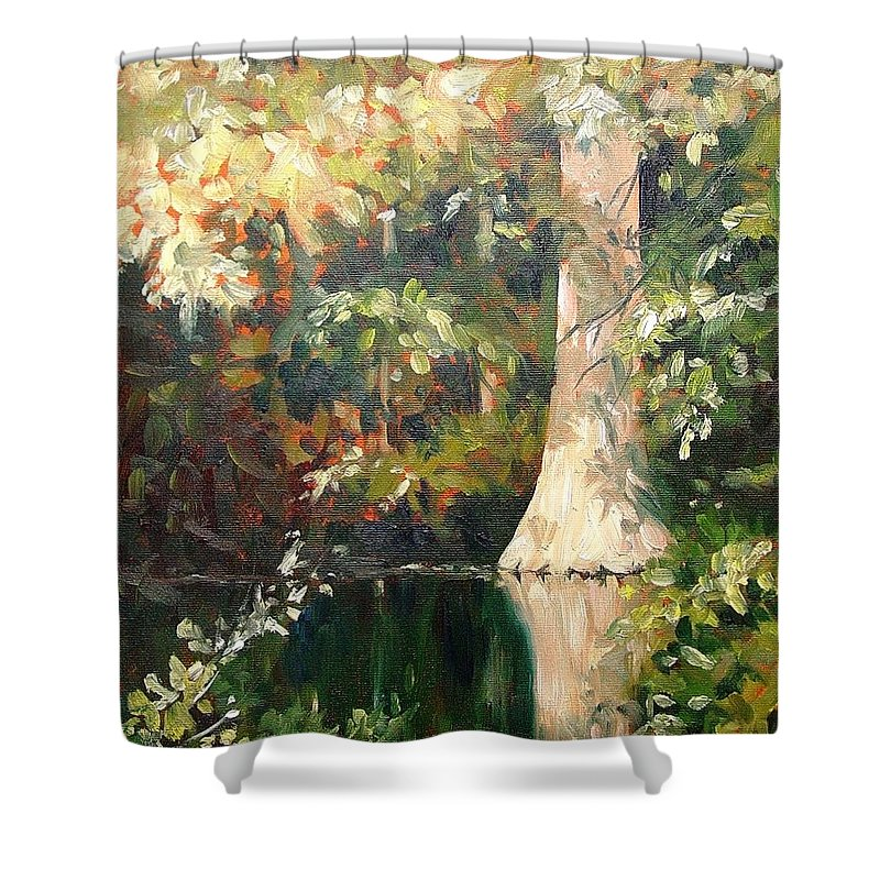 Landscape Shower Curtain featuring the painting Cypress In Sun by Marlene Gremillion