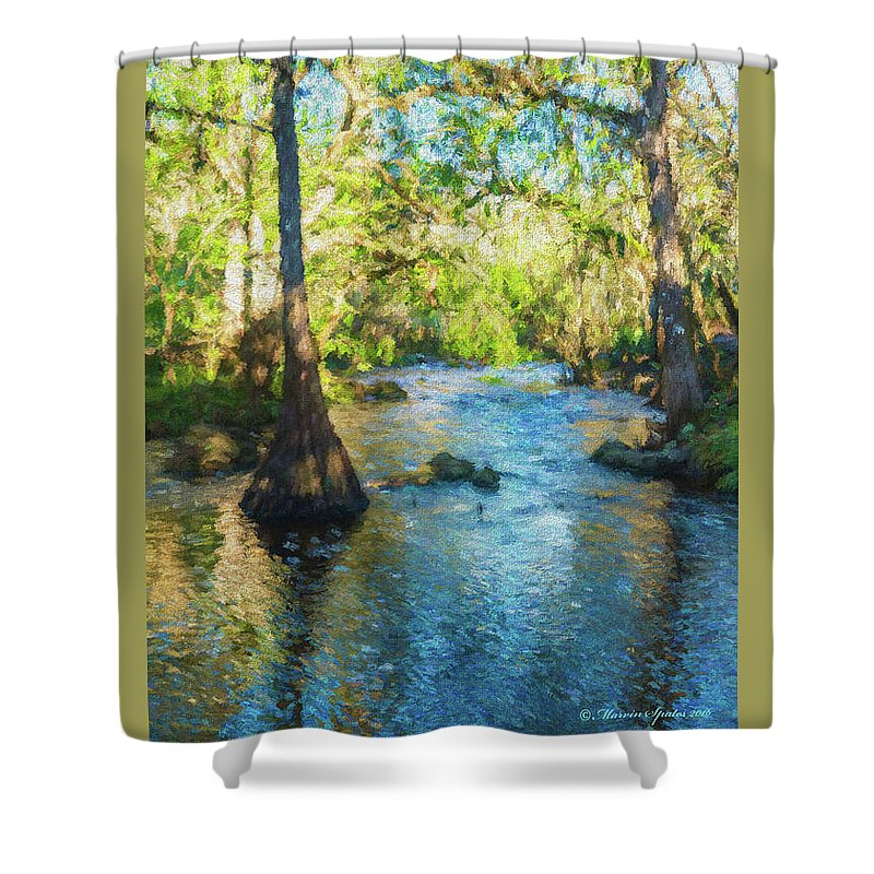 Landscape Shower Curtain Featuring The Photograph Cypress Trees On River By Marvin Spates