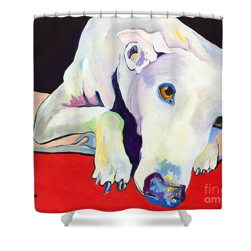 Animals Pets Greyhound Shower Curtain featuring the painting Cyrus by Pat Saunders-White