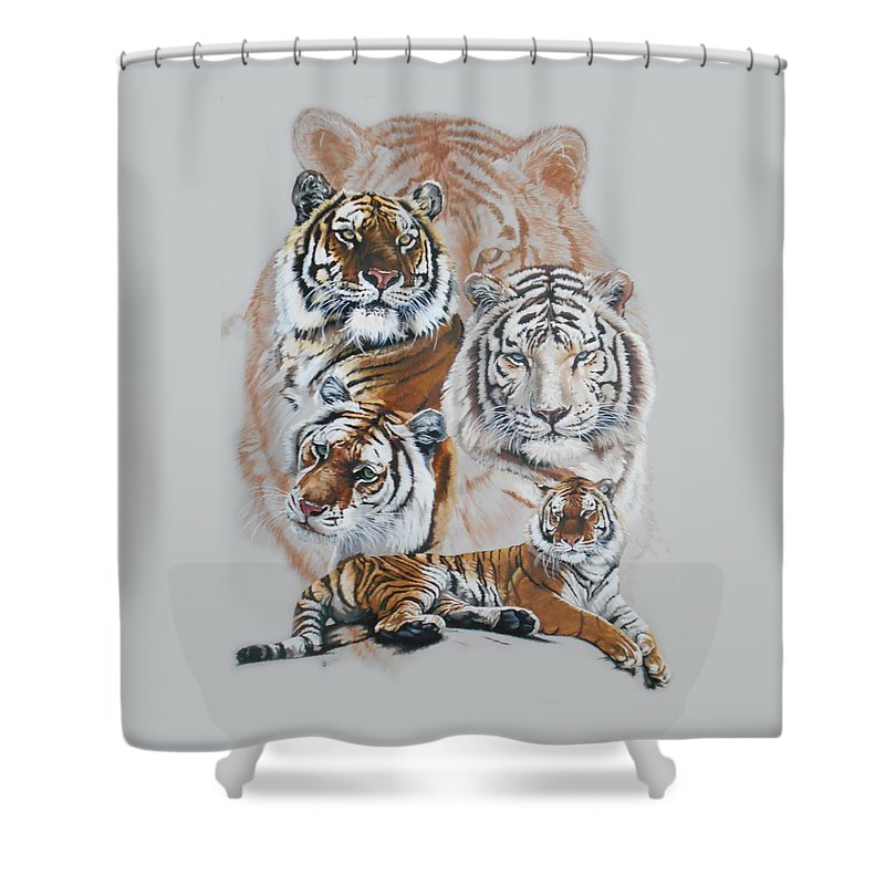 Big Cat Shower Curtain featuring the mixed media Czar by Barbara Keith