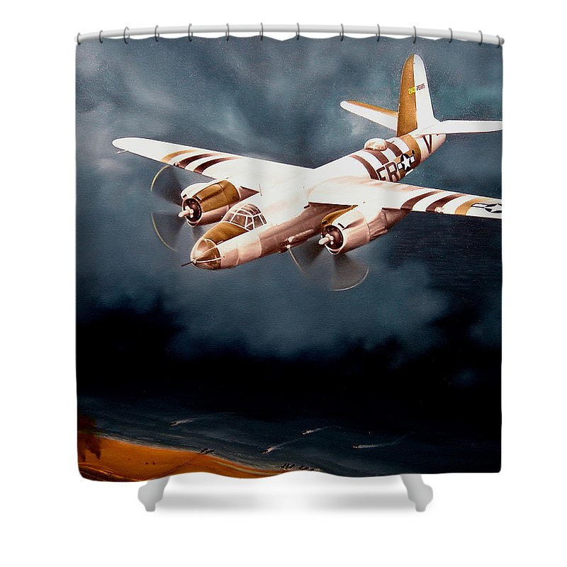 Military Shower Curtain featuring the painting D-day Support by Marc Stewart