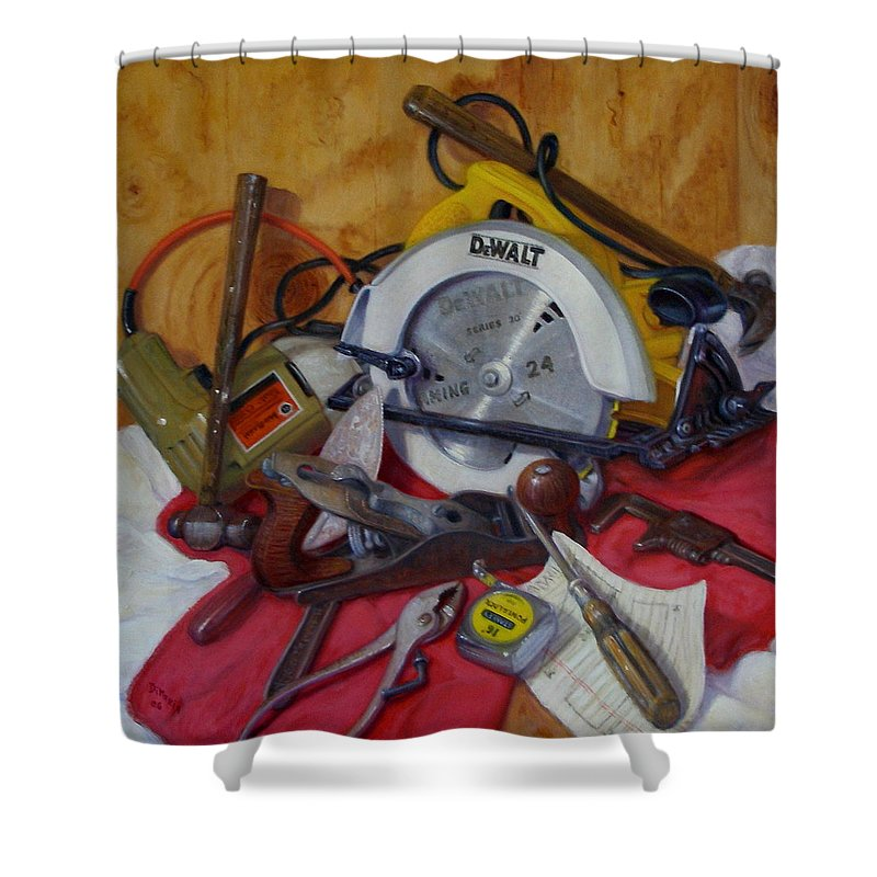 Realism Shower Curtain featuring the painting D. I. Y. 2  by Donelli DiMaria