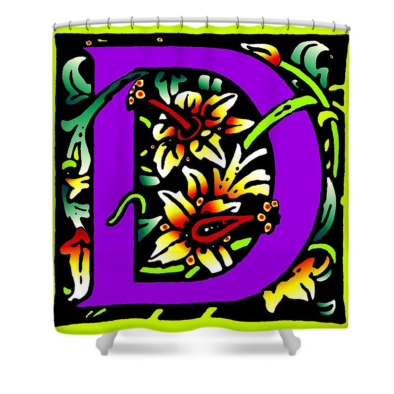 Alphabet Shower Curtain featuring the digital art D In Purple by Kathleen Sepulveda