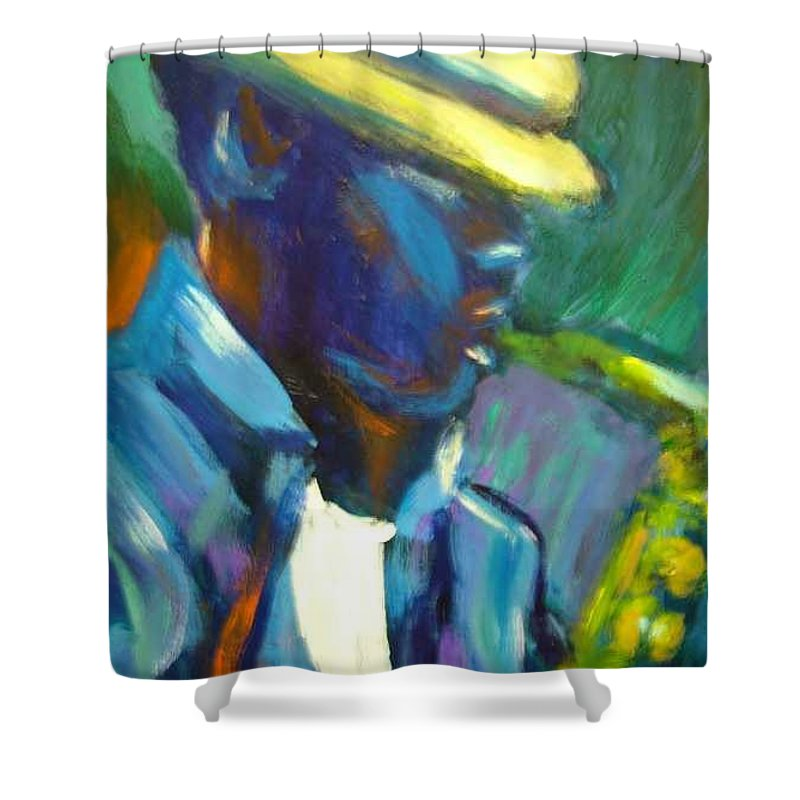 Sax Player Shower Curtain featuring the painting D by Jan Gilmore