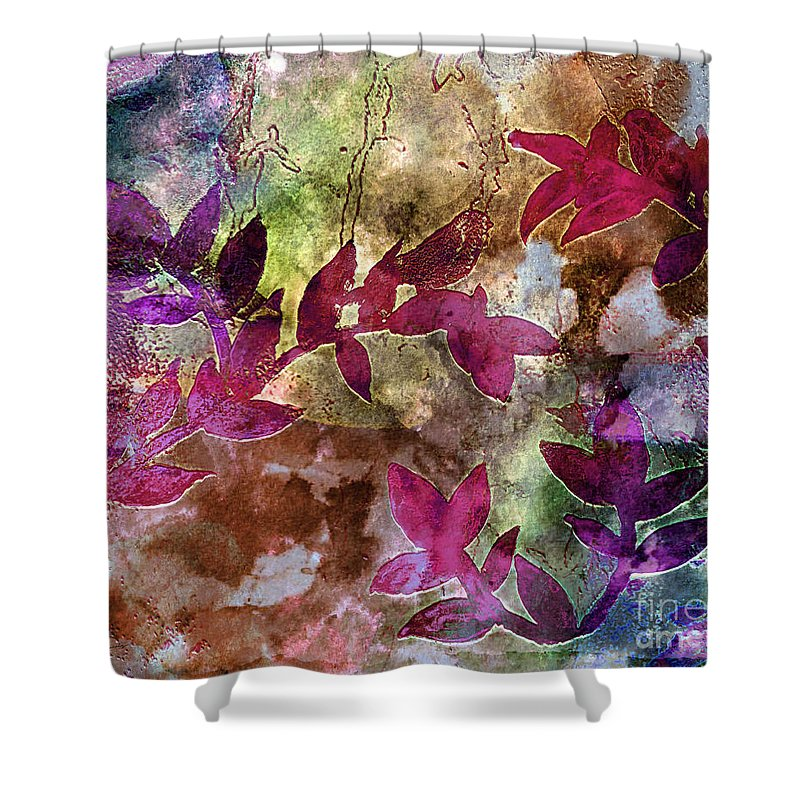 Abstract Shower Curtain featuring the painting D231116 by Mas Art Studio