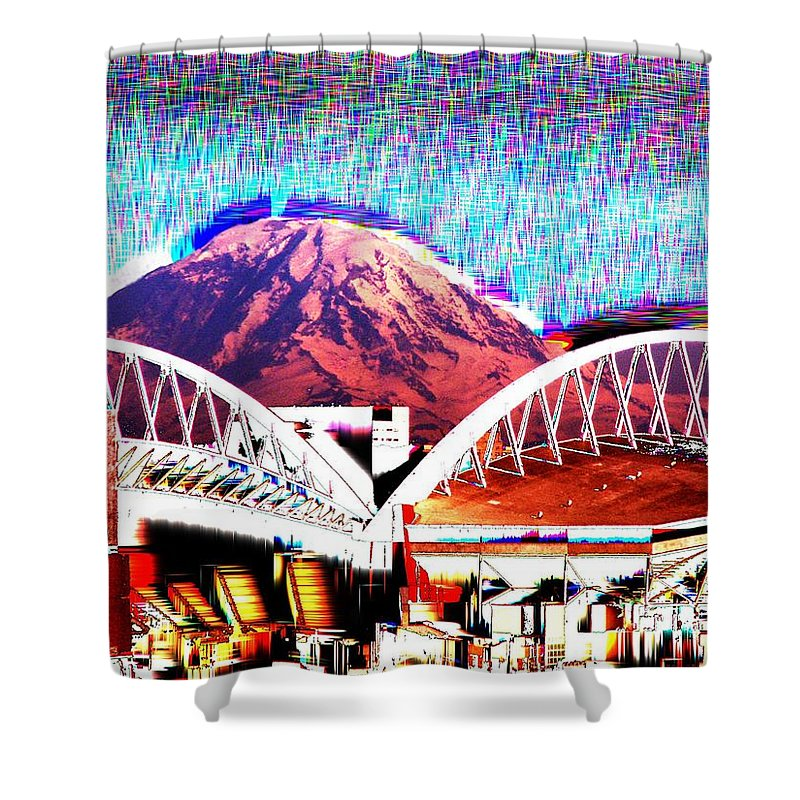 Seattle Shower Curtain featuring the photograph Da Mountain And Stadia 2 by Tim Allen
