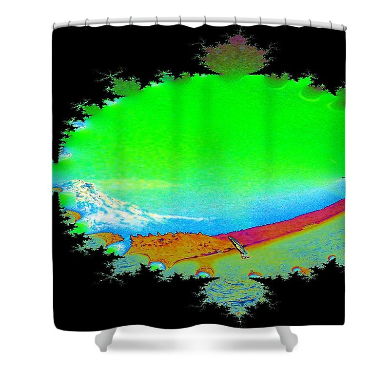 Washington Shower Curtain featuring the digital art Da Mountain Sail In Fractal by Tim Allen