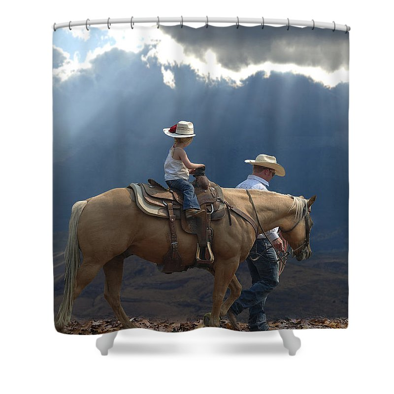Little Cowgirl Shower Curtain featuring the photograph Daddy's Girl by Elizabeth Waitinas