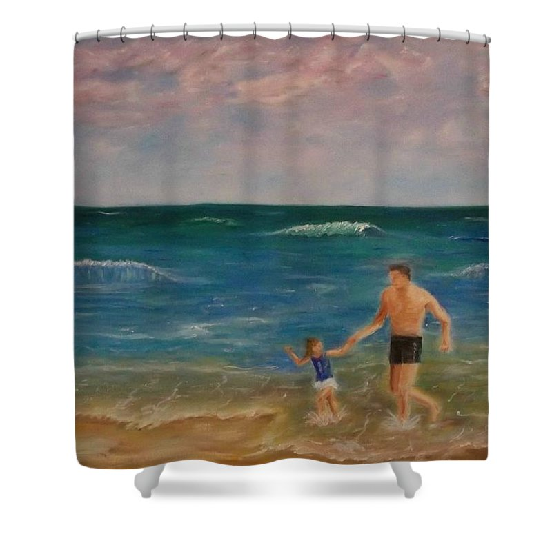 Seascape Shower Curtain featuring the painting Daddys Girl by Stephen King