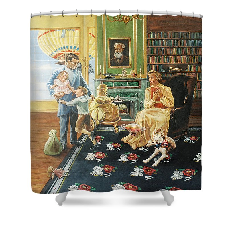 Fantasy Shower Curtain featuring the painting Daddys Home by Bryan Bustard
