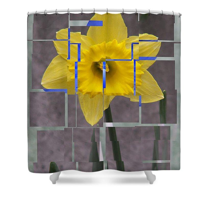 Flower Shower Curtain featuring the digital art Daffodil 1 by Tim Allen