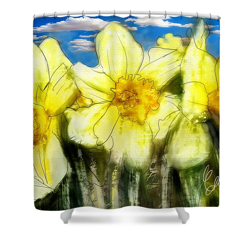Daffodils Shower Curtain featuring the digital art Daffodils by Elaine Weiss