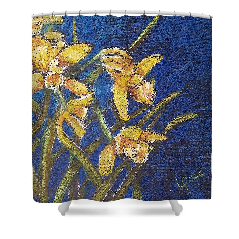 Daffodils Shower Curtain featuring the painting Daffodils by Laurie Paci