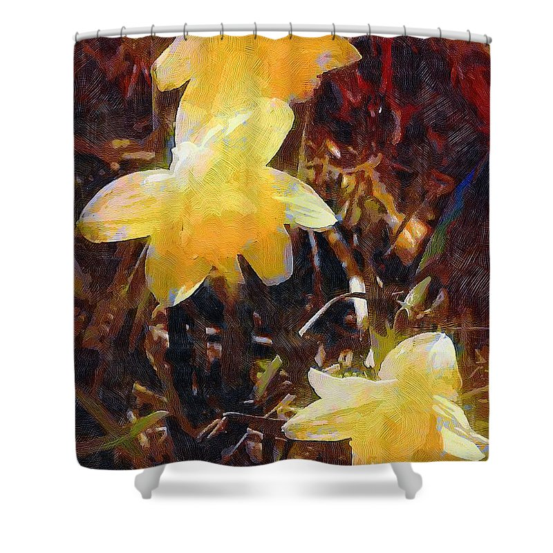 Daffodils Shower Curtain featuring the painting Daffs Gone Goth by RC DeWinter