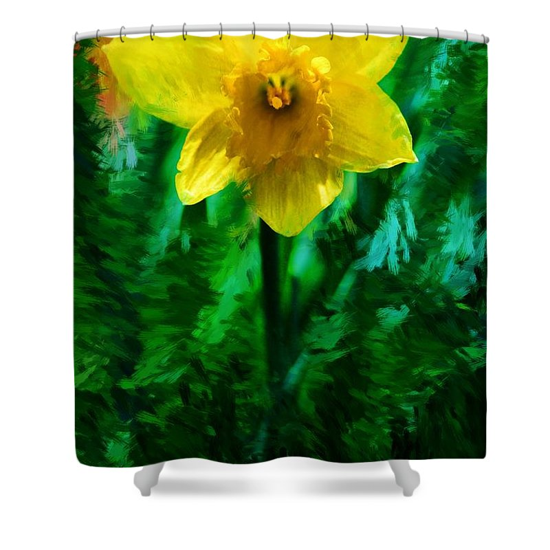 Abstract Shower Curtain featuring the photograph Daffy Dill by David Lane