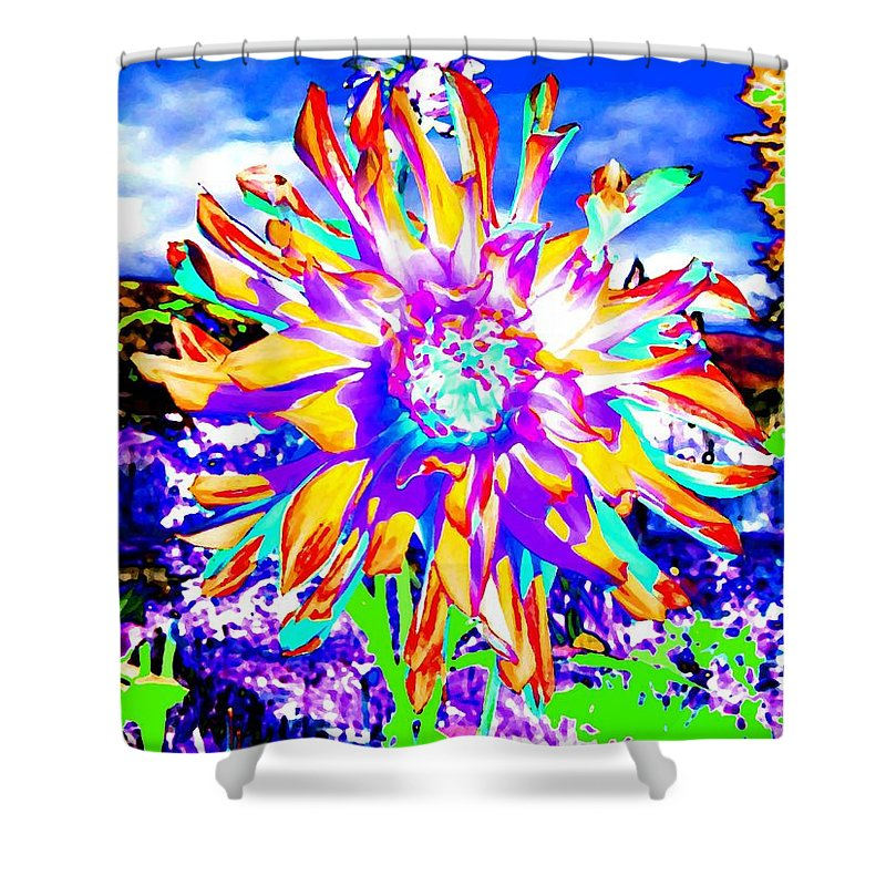 Dahlia Shower Curtain featuring the digital art Dahlia Dazzle by Will Borden