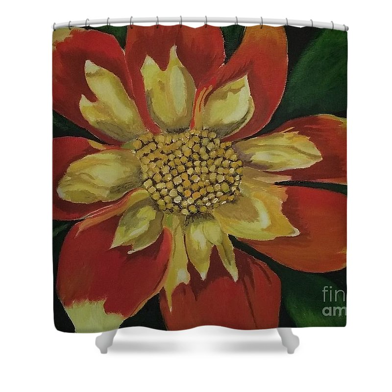 Summer Flower Shower Curtain featuring the painting Dahlia by Rebecca Jackson