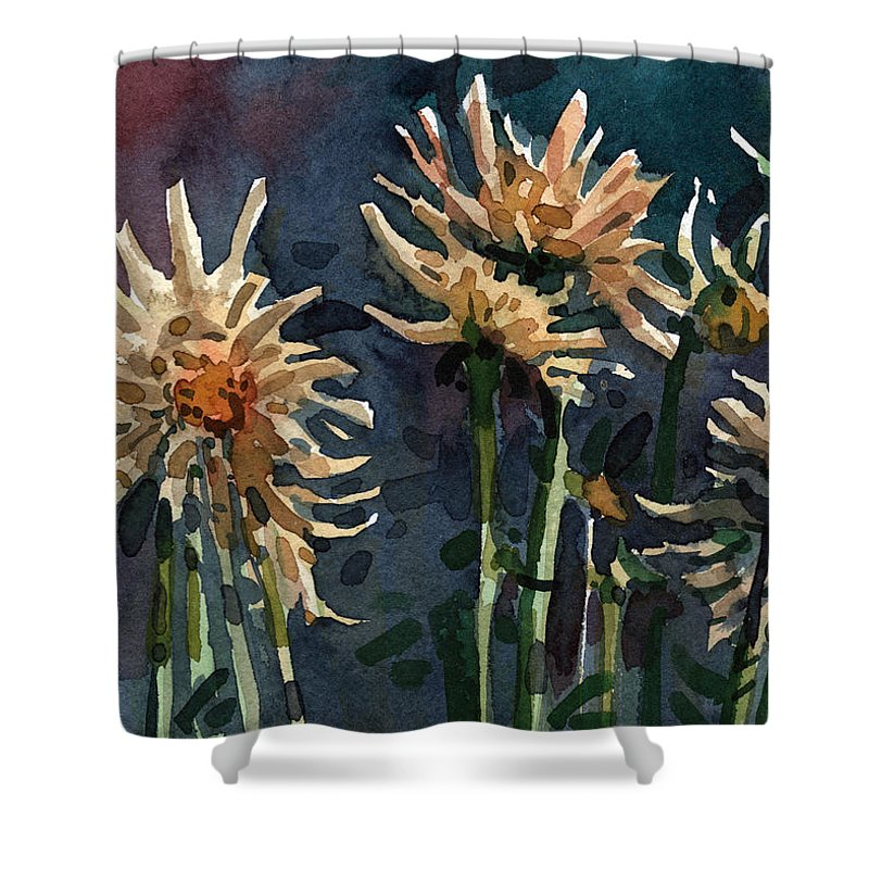 Floral Shower Curtain featuring the painting Dahlias by Donald Maier