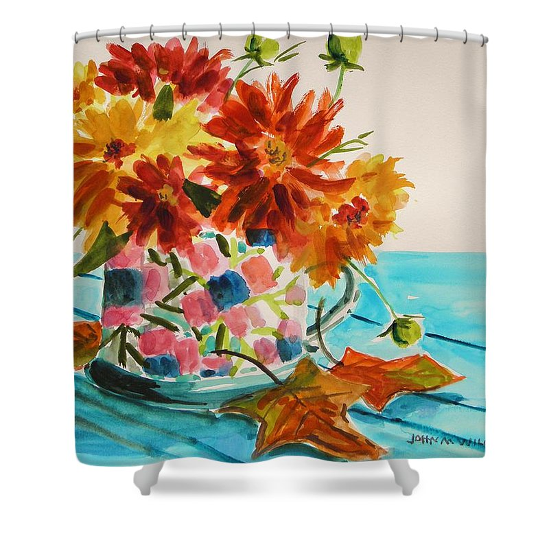 Dahlias Shower Curtain featuring the painting Dahlias In A Painted Cup by John Williams