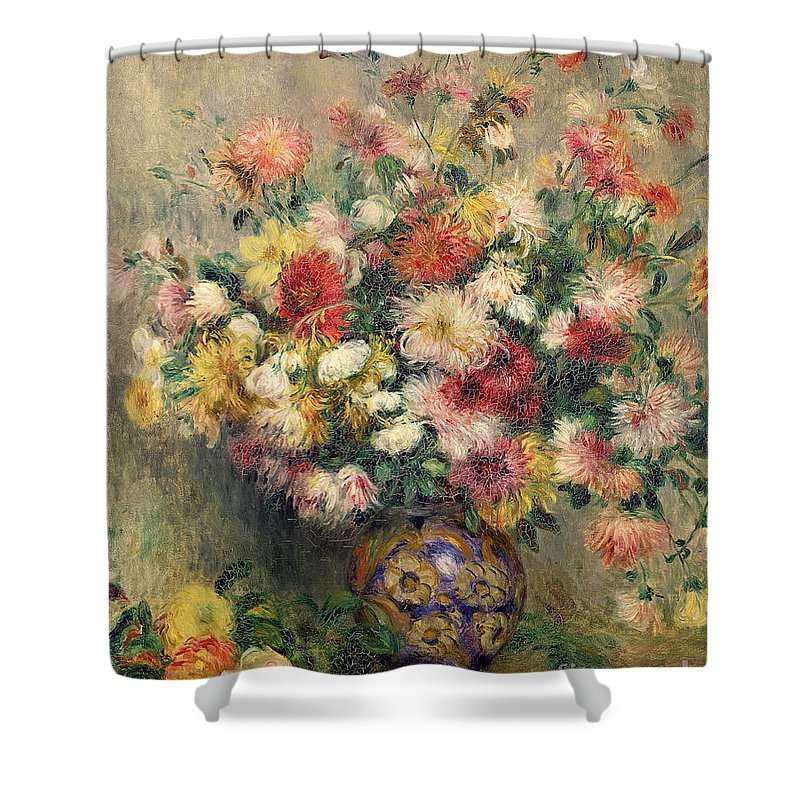 Dahlias Shower Curtain featuring the painting Dahlias by Pierre Auguste Renoir
