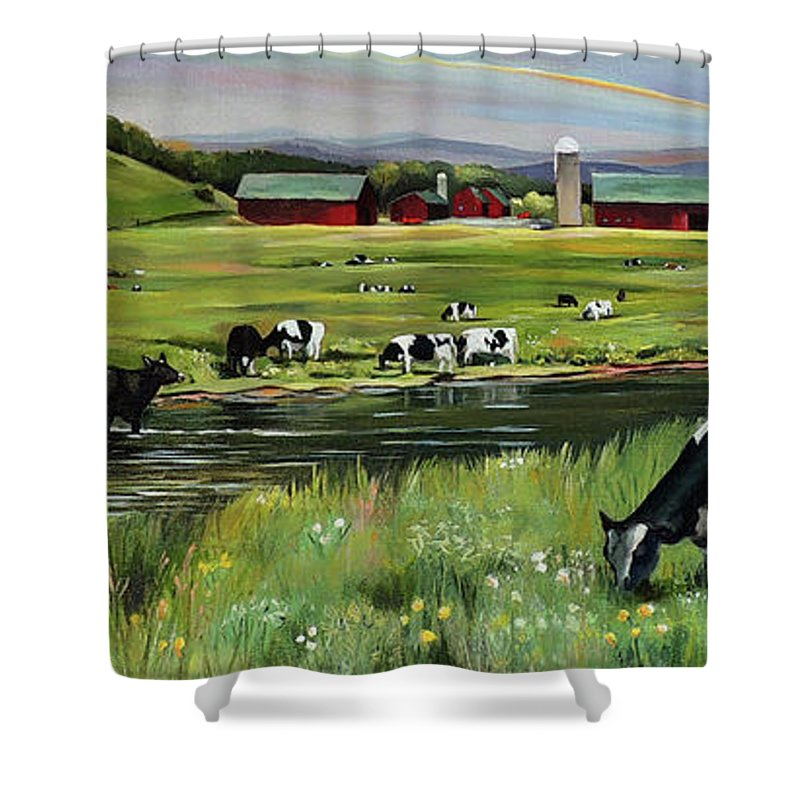 Landscape Shower Curtain featuring the painting Dairy Farm Dream by Nancy Griswold
