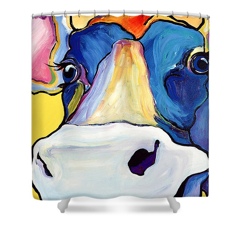 Cow Print Shower Curtain featuring the painting Dairy Queen I  by Pat Saunders-White
