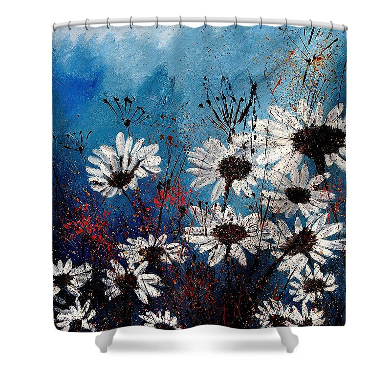 Flowers Shower Curtain featuring the painting Daisies 59060 by Pol Ledent
