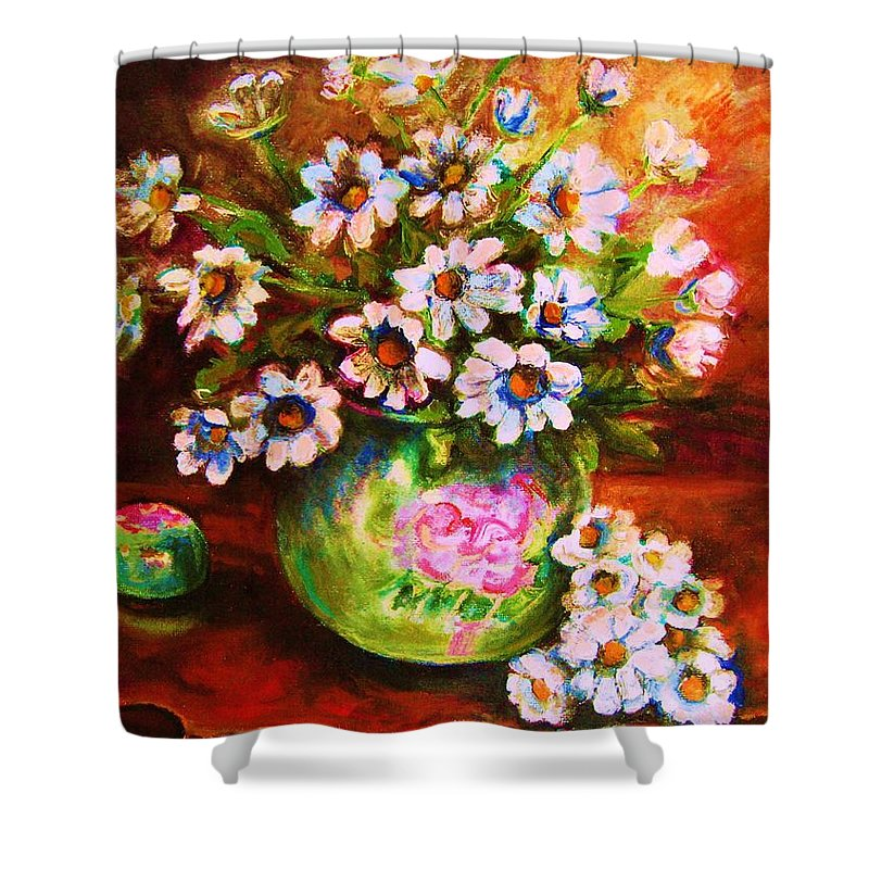 Daisies Shower Curtain featuring the painting Daisies And Ginger Jar by Carole Spandau