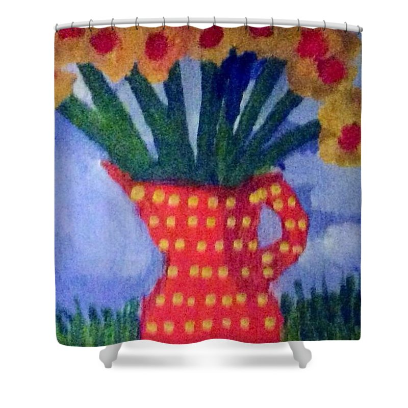 flowers Shower Curtain featuring the painting Daisies Flowers  by Jennifer L Johnson