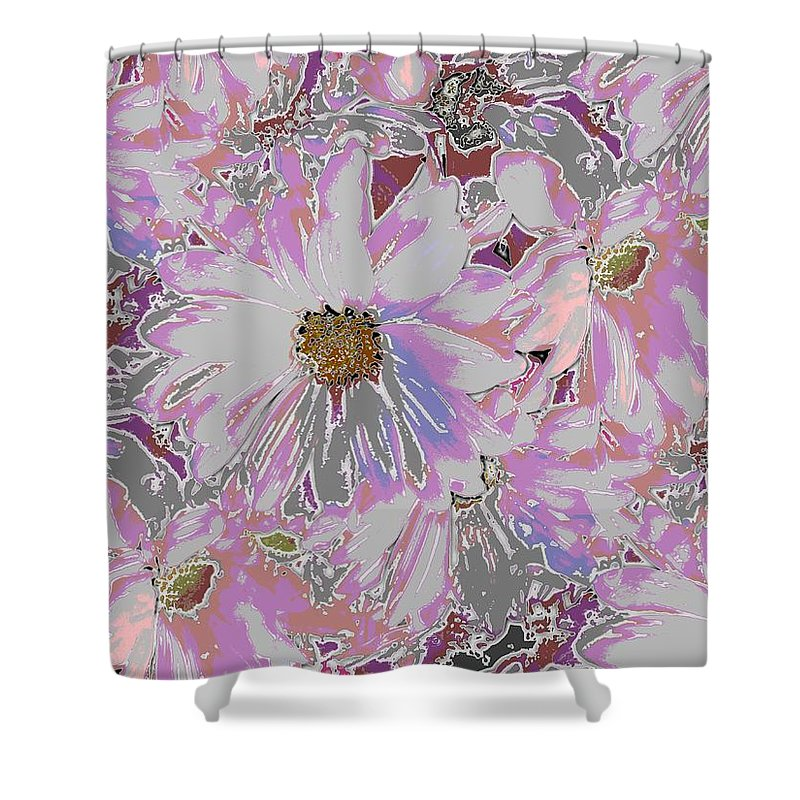 Daisy Shower Curtain featuring the digital art Daisies Galore by Tim Allen
