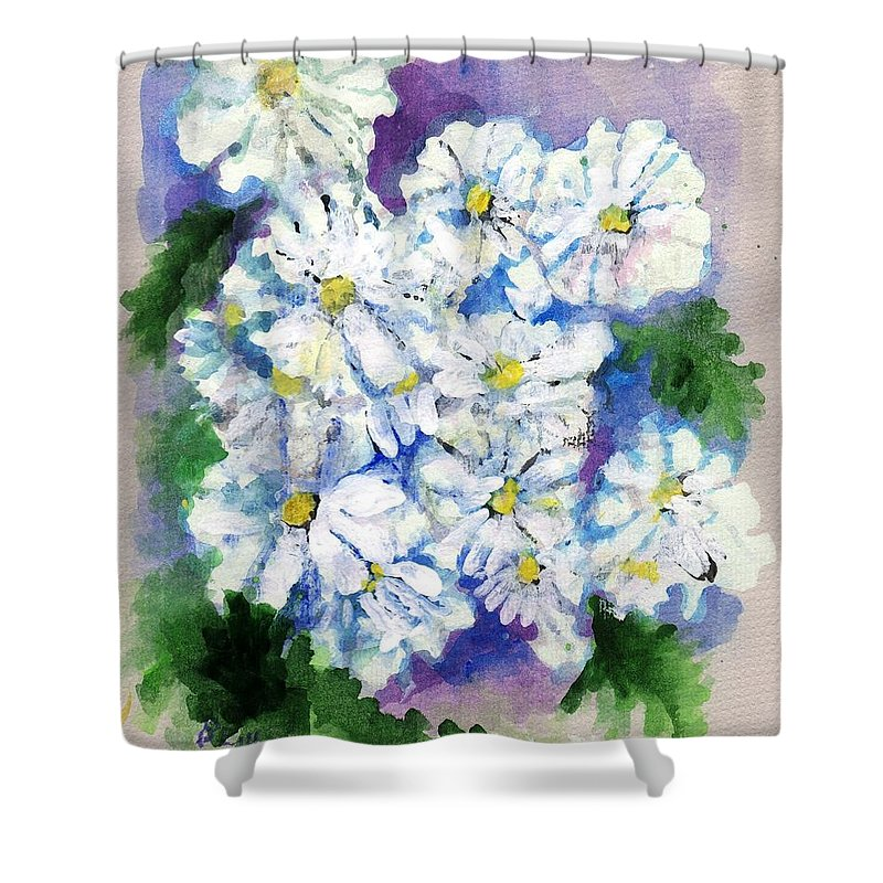 Watercolor Shower Curtain featuring the painting Daisies In Repose Intense by Beulah Frances Tysinger