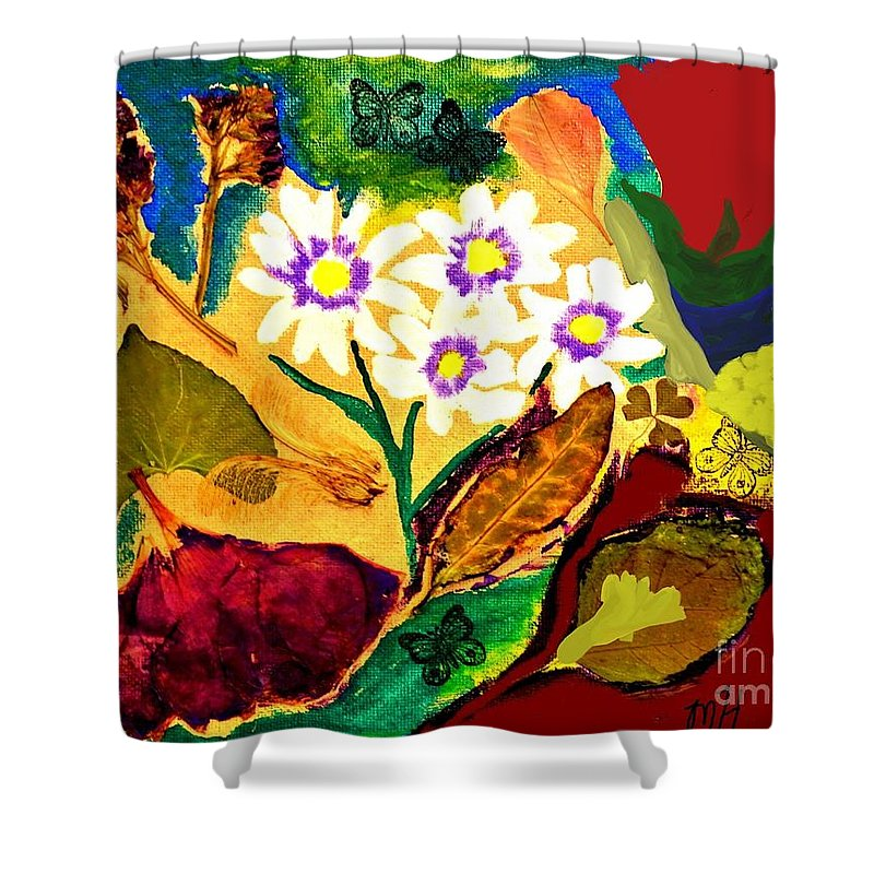 Mixed Media Shower Curtain featuring the mixed media Daisies In The Medow by Marsha Heiken