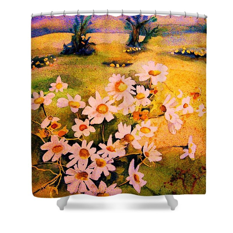 Daisies Shower Curtain featuring the painting Daisies In The Sun by Carole Spandau