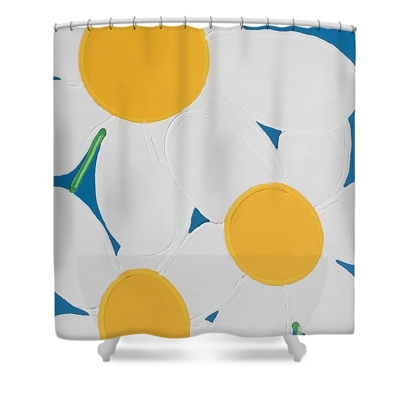 Flowers Shower Curtain featuring the painting Daisies by Matthew Brzostoski