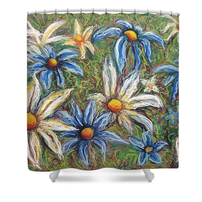 Daisies Shower Curtain featuring the pastel Daisies Pastel by Nancy Mueller