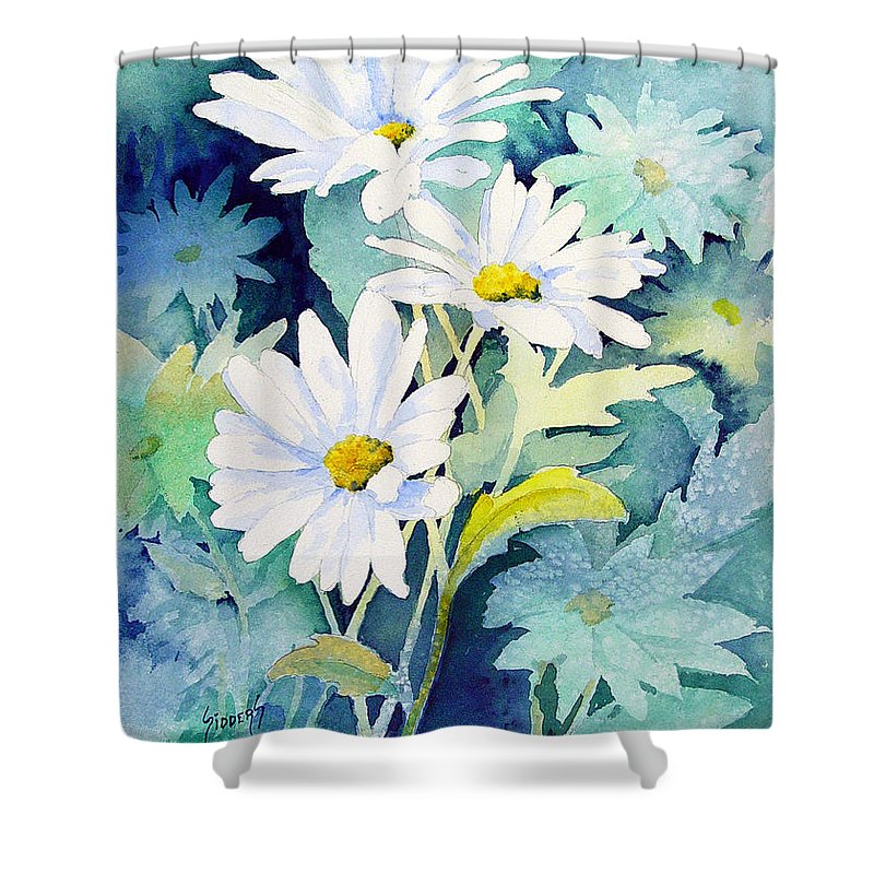 Flowers Shower Curtain featuring the painting Daisies by Sam Sidders