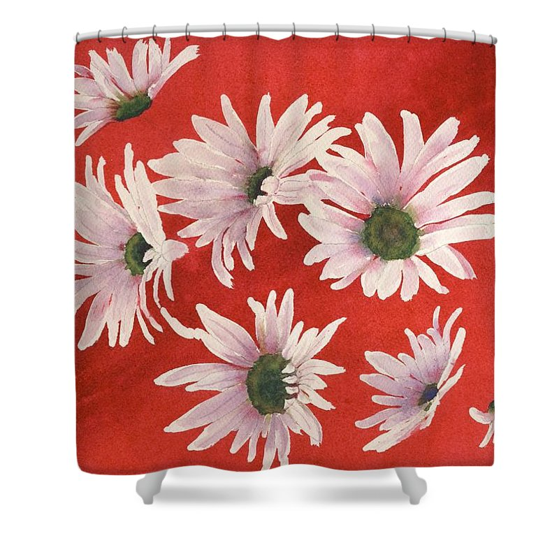 Flowers Shower Curtain featuring the painting Daisy Chain by Ruth Kamenev