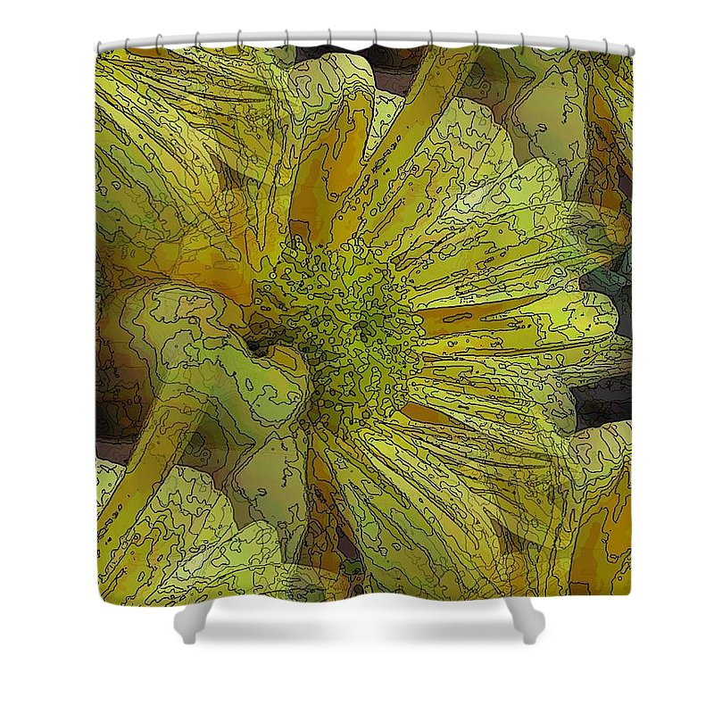 Daisy Shower Curtain featuring the digital art Daisy Delight by Tim Allen