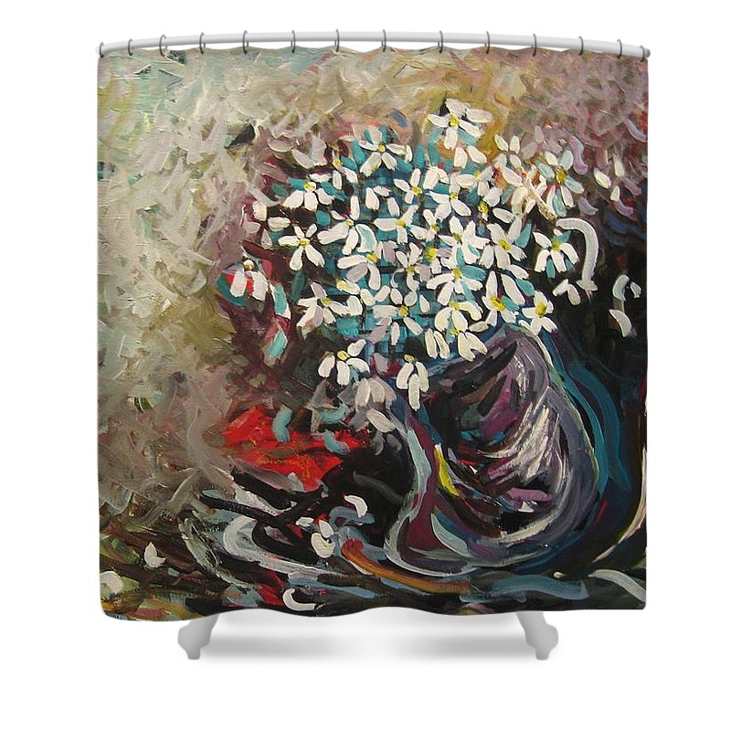 Daisy Paintings Shower Curtain featuring the painting Daisy In Vase3 by Seon-Jeong Kim