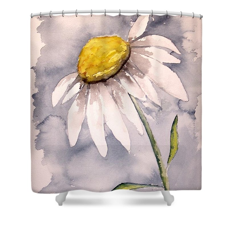 Daisy Shower Curtain featuring the painting Daisy Modern Poster Print Fine Art by Derek Mccrea