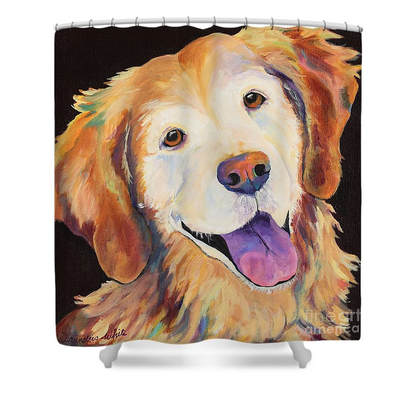 Pet Portraits Shower Curtain featuring the painting Daisy by Pat Saunders-White