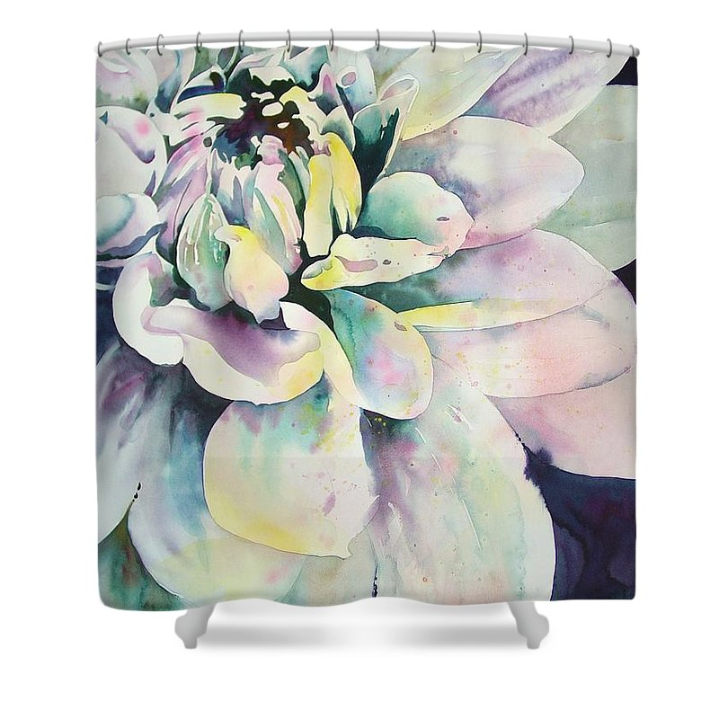 Watercolor Shower Curtain featuring the painting Dalia by Marlene Gremillion