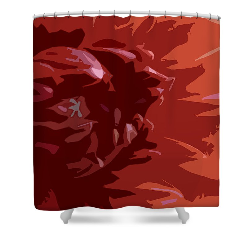 Red Shower Curtain featuring the photograph Dahlia On Fire by Don Mennig