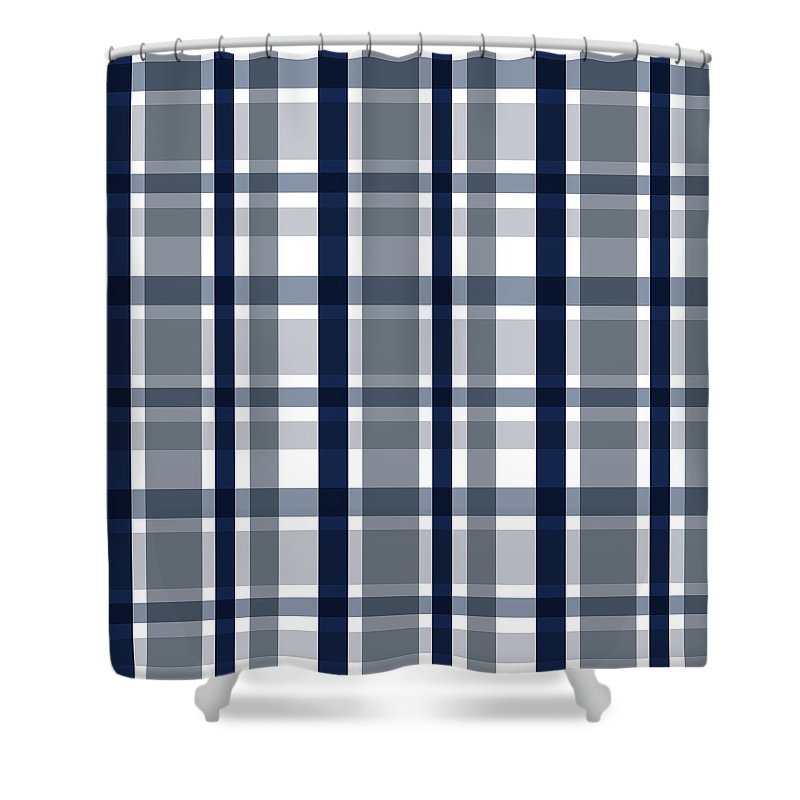 Dallas Texas Shower Curtain Featuring The Photograph Sports Fan Silver Navy Blue Plaid Striped By